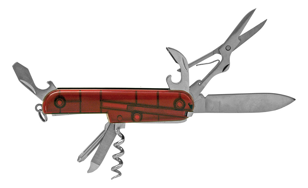 ''3.5'''' Classic Utility POCKET KNIFE - Clear Red''