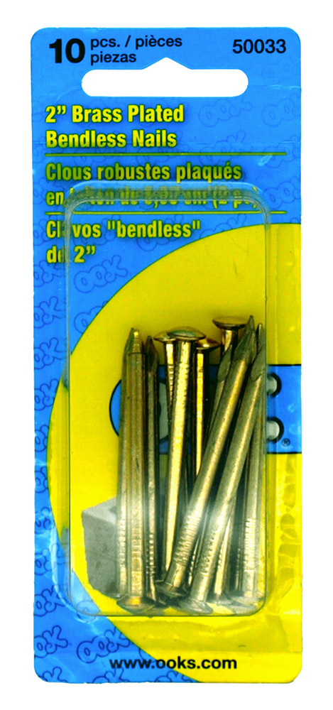 ''10 - pc. 2'''' Brass Plated Bendless NAILS''