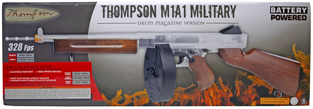 Thompson M1A1 Military Electric Airsoft Rifle - Clear