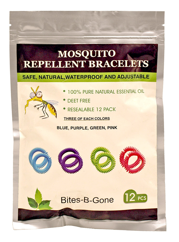 12 - pc. Mosquito Repellent BRACELETs Pack - Assorted Colors