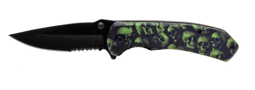''4.5'''' Spring Assist Folding KNIFE - Green Skull Camo''