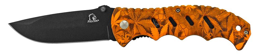 ''4.75'''' Woodsman Finger Grip Pocket KNIFE - Orange Leaf Camo''