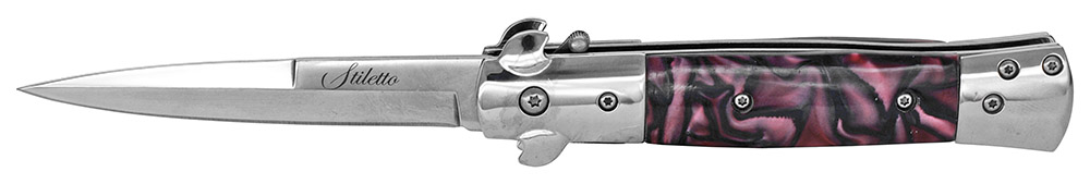 ''5'''' Spring Assist Stiletto Folding Knife - GARNET''