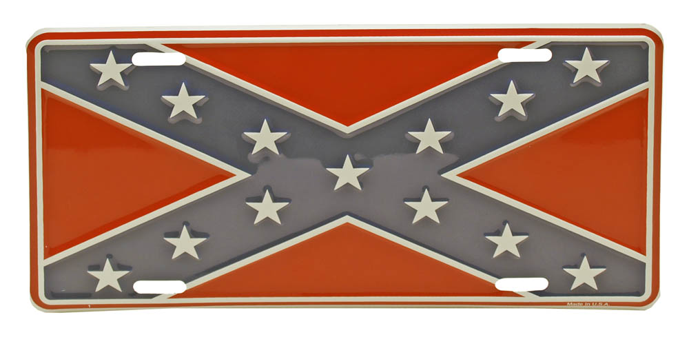 Confederate Flag Tin LICENSE PLATE