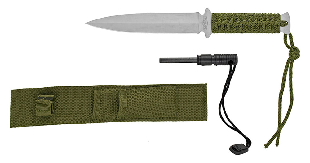 ''10.5'''' Tactical KNIFE with Fire Starter - Green and Silver''