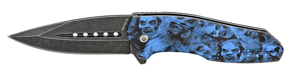 ''4.5'''' Spring Assist Zombie Folding KNIFE - Blue''