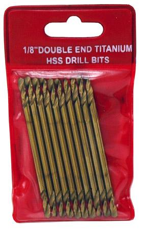 ''10-pc. 1/8'''' Double End Titanium HSS DRILL Bits''